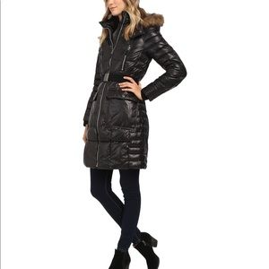 Marc New York Black Quilted Puffer Coat w Fur Hood
